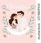 cute bride and groom cartoon... | Shutterstock .eps vector #1574809924