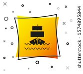 Black Ship Icon Isolated On...