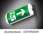green emergency exit sign   Shutterstock . vector #157490345
