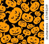 seamless pattern with jack o... | Shutterstock .eps vector #157493249