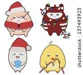 set of japanese style monsters... | Shutterstock .eps vector #157495925