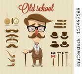 Retro gentleman character. Vector illustration