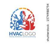 hvac logo design  heating... | Shutterstock .eps vector #1574988754