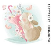 Cute Bunny Hugging A Pink...