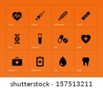 medical icons on orange... | Shutterstock . vector #157513211