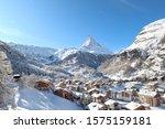 The alpine village of Zermatt in front of the Matterhorn. Winter