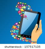 human hand holds electronic... | Shutterstock .eps vector #157517135