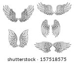 Heraldic wings set isolated on white background for design. Jpeg version also available in gallery