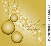 golden christmas balls on the... | Shutterstock .eps vector #157520777