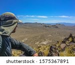 Hiker Overlooking Vast Nevada...