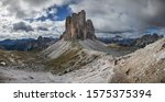 Dolomite Alps.  Panoramic view from the national Park 'Tre Cime di Lavaredo' (Three Teeth) near Cortina d'Ampezzo  - stock photo
