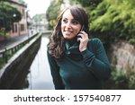 beautiful woman with turtleneck ... | Shutterstock . vector #157540877