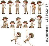 boy in safari outfit doing... | Shutterstock .eps vector #1575432487