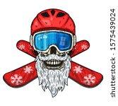 snowboarder. skull snowboarder... | Shutterstock .eps vector #1575439024