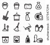 cleaning black icons | Shutterstock .eps vector #157547294