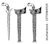 Outline drawing of a Keris or kris Vector art, a traditional Malay people dagger.
