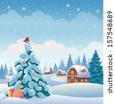 Vector Xmas Greeting Card With...