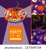 halloween set with patterns and ... | Shutterstock .eps vector #157549739