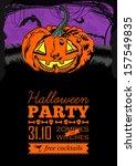 funny vector  halloween poster | Shutterstock .eps vector #157549835