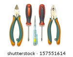 electrician used tools on white ... | Shutterstock . vector #157551614