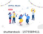 sports entertainment a joyful... | Shutterstock .eps vector #1575589411