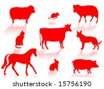 farm animals silhouettes with... | Shutterstock . vector #15756190