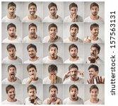 Mosaic Of Young Man Expressing...