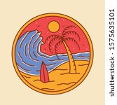 simple beach badge design... | Shutterstock .eps vector #1575635101