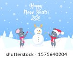 two mice in the forest sculpt a ... | Shutterstock .eps vector #1575640204