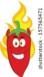 red chili pepper devil cartoon... | Shutterstock .eps vector #157565471
