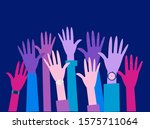 group of hands raised to the... | Shutterstock .eps vector #1575711064