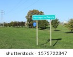Small photo of PORTAGE LA PRAIRIE, MANITOBA/CANADA- SEPTEMBER 26, 2019: The Portage La Prairie, Manitoba, Canada welcome sign