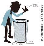homeless who hunts trash   Shutterstock .eps vector #157575599
