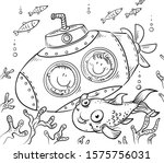 children in a submarine explore ... | Shutterstock .eps vector #1575756031