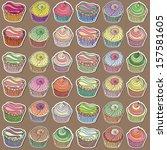 set of cute cupcake designs | Shutterstock .eps vector #157581605
