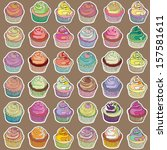 set of yummy cupcakes... | Shutterstock .eps vector #157581611