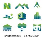 Stock vector real estate vector logo design elements set of nine stylish realty and construction symbols 157592234