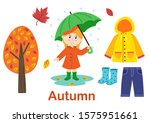 isolated autumn set with girl ... | Shutterstock .eps vector #1575951661