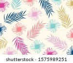 colorful flowers and leaves... | Shutterstock .eps vector #1575989251