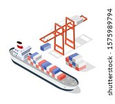 isometric ship cargo container... | Shutterstock . vector #1575989794