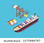 isometric ship cargo container... | Shutterstock . vector #1575989797