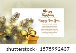 fir branches  a gift with a bow ...   Shutterstock .eps vector #1575992437