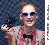smiling hipster girl with... | Shutterstock . vector #157603619