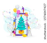 tiny people  young men and... | Shutterstock .eps vector #1576047427