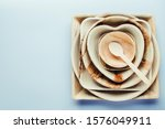 Palm Leaf Plates Stacked On A...