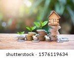 House Model On Money Coins...