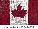 Old Mosaic Flag Of Canada Clos...
