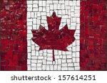 Old Mosaic Flag Of Canada Clos...