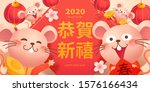 happy year of the rat cute mice ... | Shutterstock .eps vector #1576166434