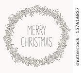 christmas wreath doodle | Shutterstock .eps vector #157616837